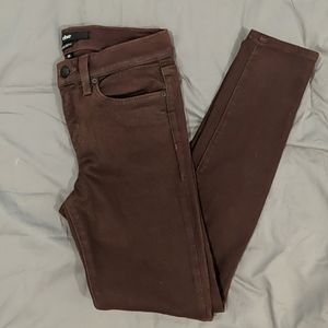 Maroon stretch skinny jeans